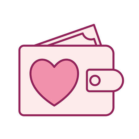 heart in wallet line and fill style icon design of Charity and donation theme Vector illustration Stock Illustratie