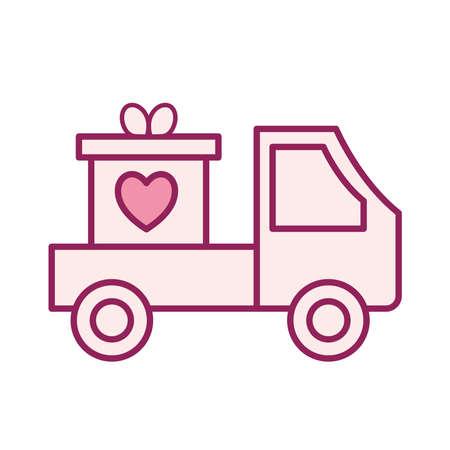 heart in gift on truck line and fill style icon design of Charity and donation theme Vector illustration