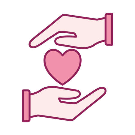 heart between hands line and fill style icon design of Charity and donation theme Vector illustration