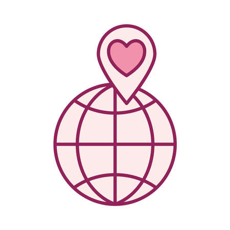 global sphere with heart in gps mark line and fill style icon design of Charity and donation theme Vector illustration