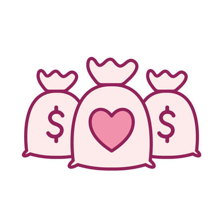 money bags with heart line and fill style icon design of Charity and donation theme Vector illustration Stock Illustratie
