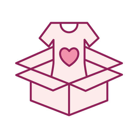 volunteer tshirt inside box line and fill style icon design of Charity and donation theme Vector illustration