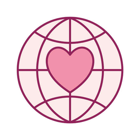 heart in global sphere line and fill style icon design of Charity and donation theme Vector illustration Stock Illustratie