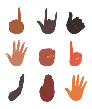 diversity of isolated hands design, people multiethnic race and community theme Vector illustration