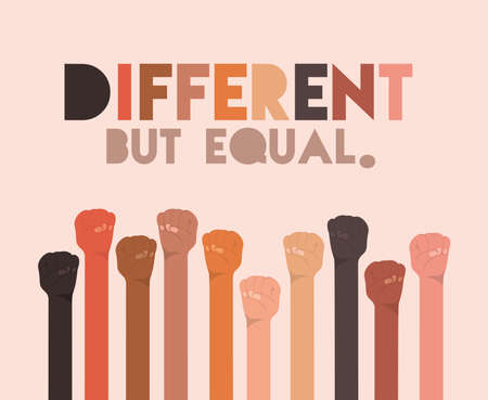 different but equal and diversity fists hands up design, people multiethnic race and community theme Vector illustration Illustration