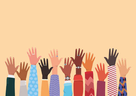 diversity of open hands up design, people multiethnic race and community theme Vector illustration