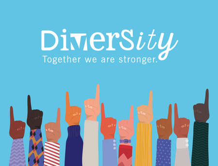 number one sign with hands up and diversity together we are stronger design, people multiethnic race and community theme Vector illustration