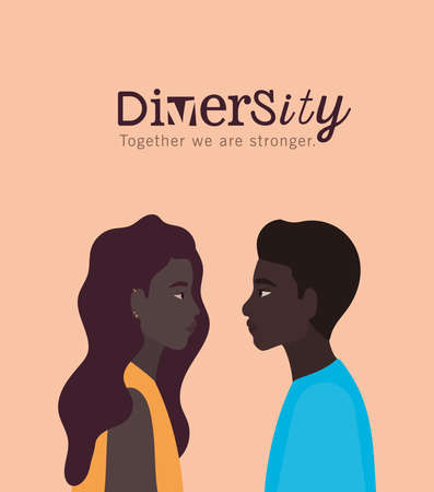 diversity black woman and man cartoons design, people multiethnic race and community theme Vector illustration 일러스트
