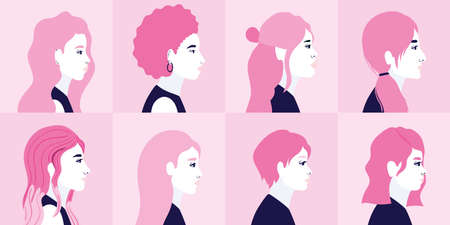 diversity women cartoons in side view in pink frames background design, people multiethnic race and community theme Vector illustration 일러스트