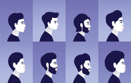 diversity men cartoons in side view in blue frames background design, people multiethnic race and community theme Vector illustration