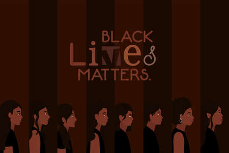 women and men cartoons in side view with black lives matters text design of Protest justice and racism theme Vector illustration 矢量图像