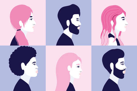 diversity 6 women and men cartoons silhouettes in side view in blue and pink frames background design, people multiethnic race and community theme Vector illustration