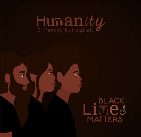 Black woman and men cartoons in side view with black lives matters text design of Protest justice and racism theme Vector illustration 矢量图像