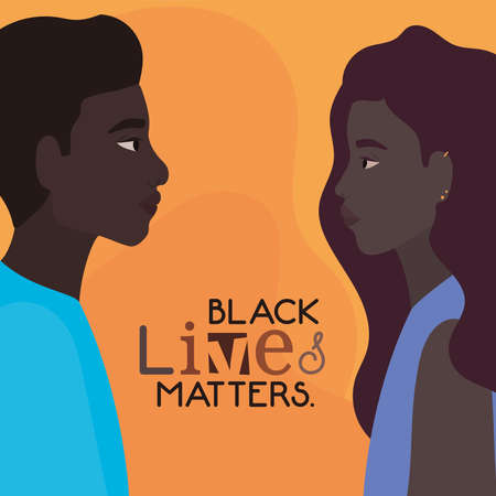 Black woman and man cartoons in side view with black lives matters text design of Protest justice and racism theme Vector illustration 矢量图像