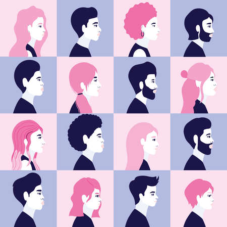 diversity women and men cartoons silhouettes in side view in blue and pink frames background design, people multiethnic race and community theme Vector illustration 일러스트