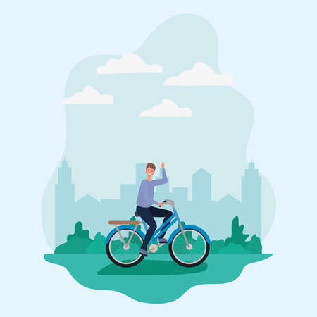 man cartoon riding bike at park in front of city design, Nature outdoor and season theme Vector illustration