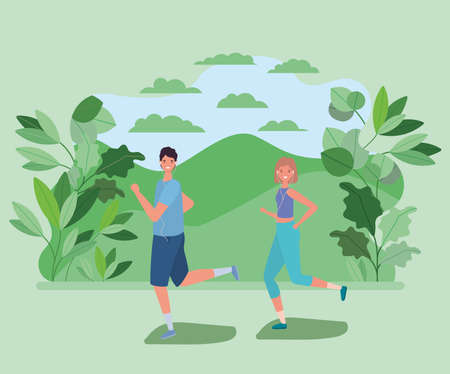 woman and man cartoons running at park with leaves design, Nature outdoor and season theme Vector illustration