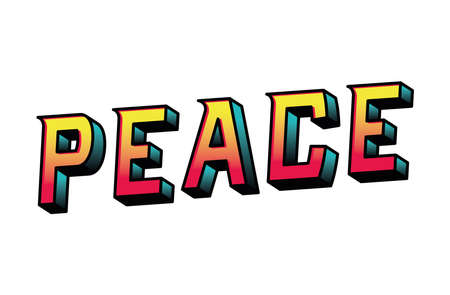 peace lettering design, typography retro and comic theme Vector illustration