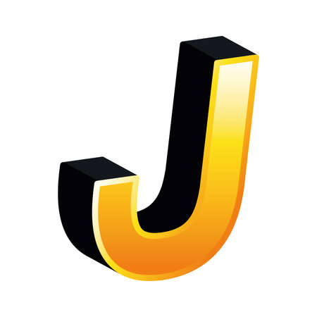 3d j letter design, lettering typography retro and comic theme Vector illustration Ilustração