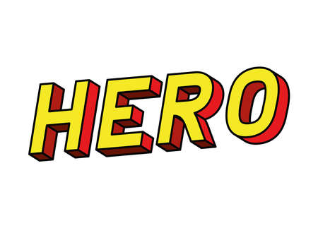 hero lettering design, typography retro and comic theme Vector illustration