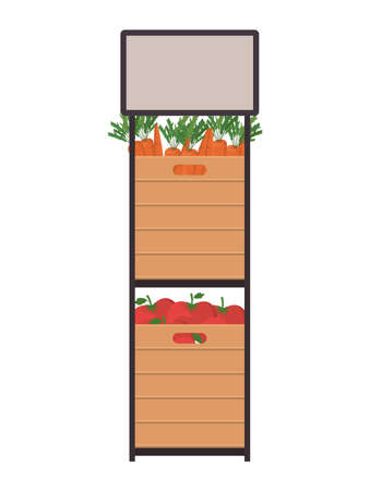 carrots and tomatoes inside boxes on shelf design, Vegetable organic food healthy fresh natural and market theme Vector illustration