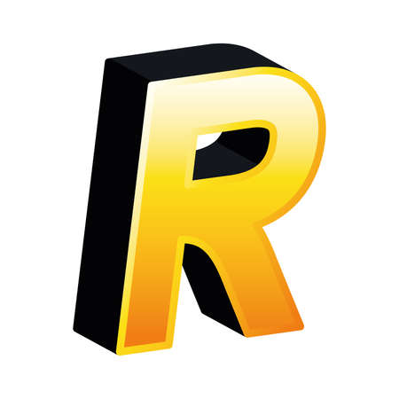 3d r letter design, lettering typography retro and comic theme Vector illustration Ilustração