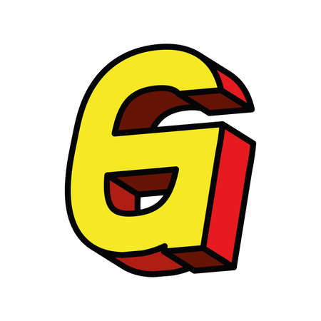 3d g letter design, lettering typography retro and comic theme Vector illustration Ilustração