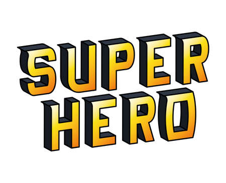 super hero lettering design, typography retro and comic theme Vector illustration