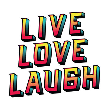 live love laugh lettering design, typography retro and comic theme Vector illustration Ilustração