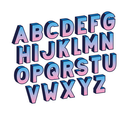 blue gradient alphabet lettering design, typography retro and comic theme Vector illustration Ilustração