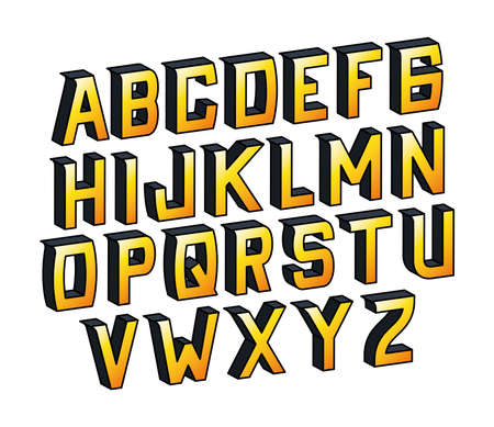 yellow gradient alphabet lettering design, typography retro and comic theme Vector illustration Ilustração