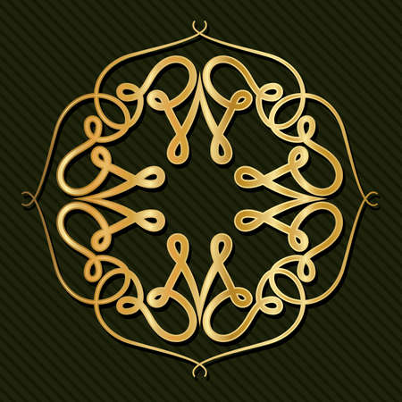 Gold art deco frame with ornament on green background design of Retro decoration and gatsby theme Vector illustration