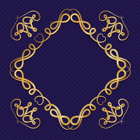 Gold art deco frame with ornament on blue background design of Retro decoration and gatsby theme Vector illustration 矢量图像