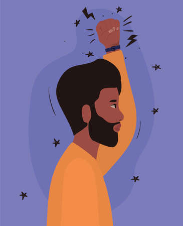 man cartoon with black beard and fist up in side view design, Manifestation protest and demonstration theme Vector illustration Vectores