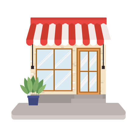 store with tent and plant inside pot design of Shop supermarket and market theme Vector illustration