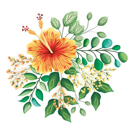 orange hawaiian flower with buds and leaves painting design, natural floral nature plant ornament garden decoration and botany theme Vector illustration Vetores