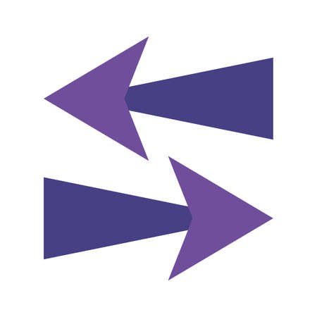 Arrows in right and left directions flat style icon design of web forward and infographic theme illustration