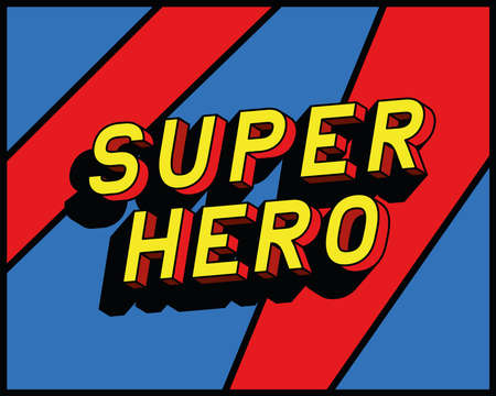 super hero lettering design, typography retro and comic theme Vector illustration Ilustración de vector