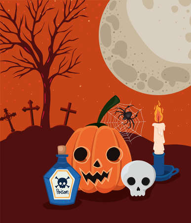 Halloween pumpkin and skull cartoons in front of cemetery design, Holiday and scary theme Vector illustration