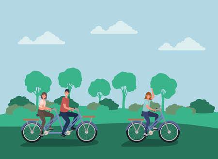 women and man cartoons riding bikes at park design, Nature outdoor and season theme Vector illustration