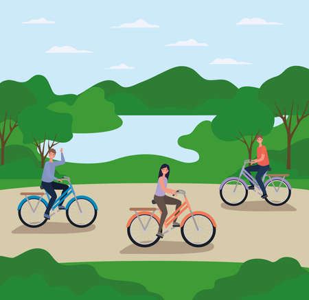 woman and men cartoons riding bikes at park design, Nature outdoor and season theme Vector illustration