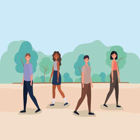 women and men cartoons walking at park design, Nature outdoor and season theme Vector illustration