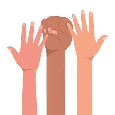 fist sign and open hands up of different types of skins design, diversity people multiethnic race and community theme Vector illustration