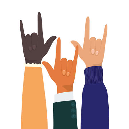 rock sign with hands of different types of skins design, diversity people multiethnic race and community theme Vector illustration 矢量图像