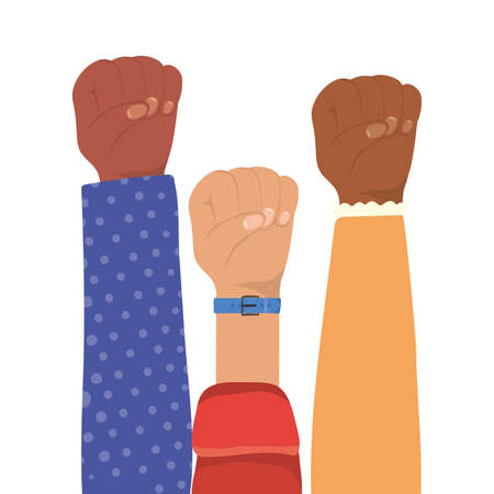 fist sign with hands of different types of skins design, diversity people multiethnic race and community theme Vector illustration