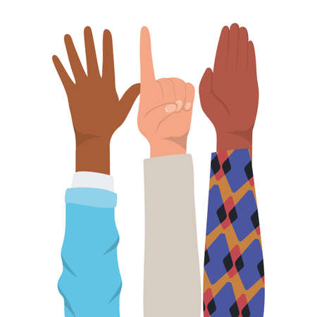 number one sign and open hands up of different types of skins design, diversity people multiethnic race and community theme Vector illustration