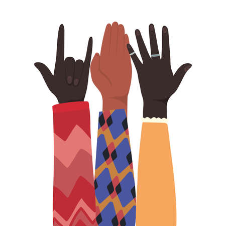 rock sign and open hands up of different types of skins design, diversity people multiethnic race and community theme Vector illustration
