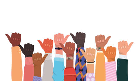 like sign with hands of different types of skins design, diversity people multiethnic race and community theme Vector illustration
