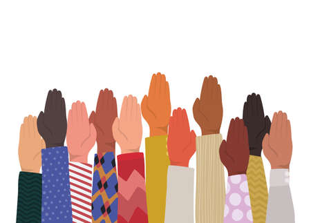 up hands with closed palm of different types of skins design, diversity people multiethnic race and community theme Vector illustration