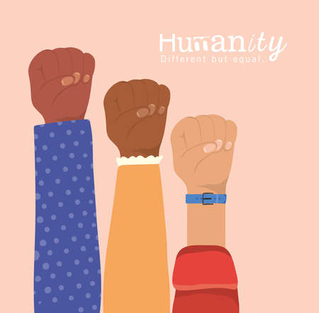 humanity different but equal and diversity fists hands up design, people multiethnic race and community theme Vector illustration